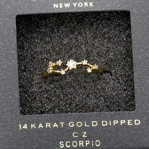 Scorpio 14K Gold Dipped CZ Zodiac Ring Accessory